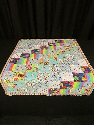 Project Linus Unisex baby quilt stars striped and brights  patchwork quilt