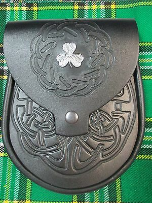 Black Embossed Leather Irish Shamrock Badge Sporran For K...