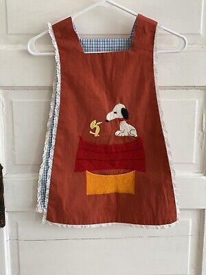 Vintage 80s Handmade Kids sz Artist Smock Apron Snoopy Woodstock Arts Craft USA