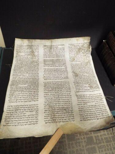 Circa 1800 Torah Scroll Fragment. Handwritten Hebrew from Bible on heavy vellum.