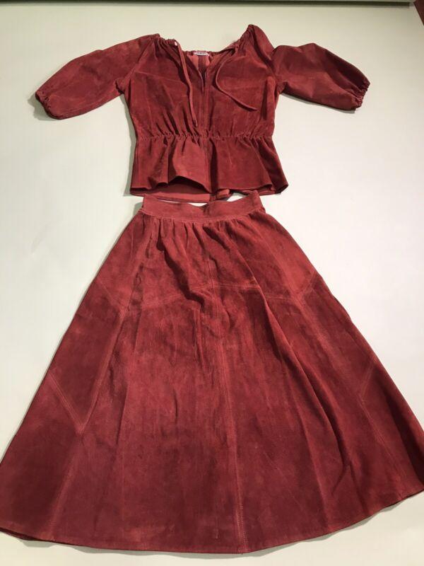 1970s Skirt Top Set 2pc Brown Suede Vintage