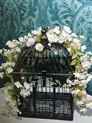 Large Wedding Bird Cage Card Box/Holder (white flowers) - opens - antique look