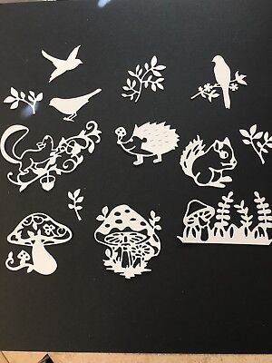 Mushrooms and critters die cuts for cards or scrapbook 13 pieces