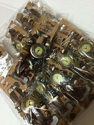 JOB LOT WHOLESALE 20 artisan beads Charmed leather watches  new clearance stock