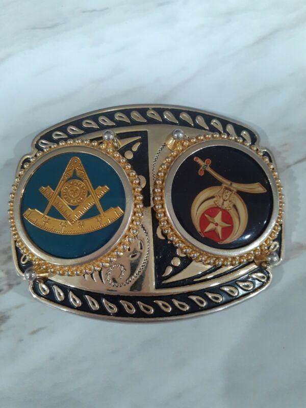 Vintage Masonic Mason symbols Belt Buckle Made in U.S.A.