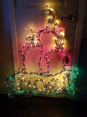 "Vtg Lighted Christmas Sculpture Noel Candle 40"" Large Metal Outdoor Yard Decor"
