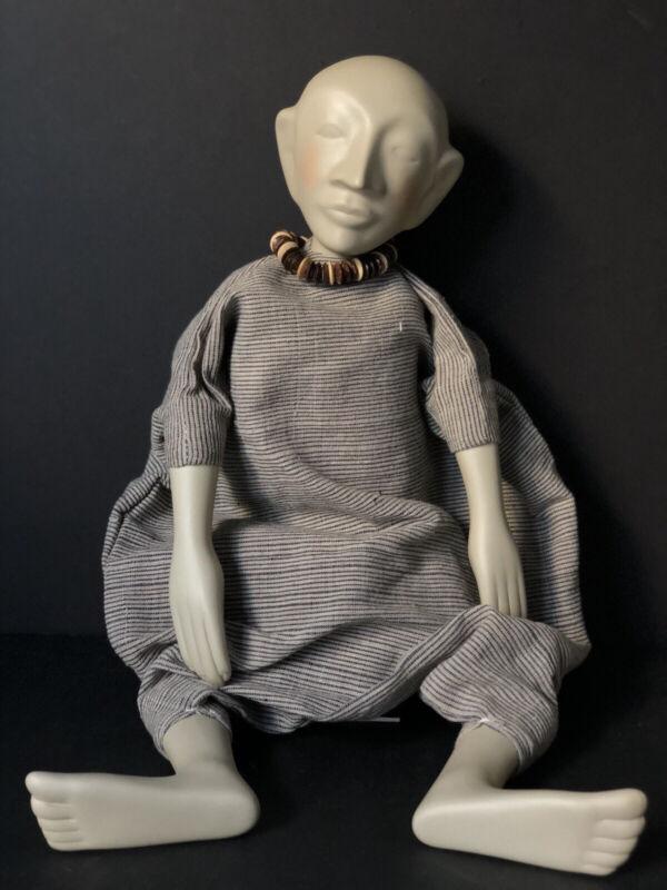 "Unidentified OOAK (?) Handcrafted Artist Ceramic/Porcelain 21"" Doll"