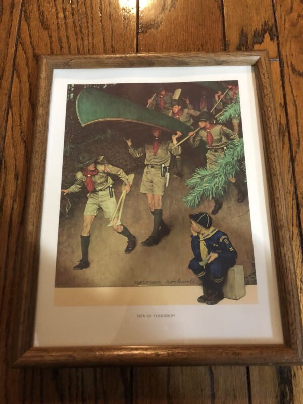"""Vintage Framed Norman Rockwell """"Men of Tomorrow"""" Boy Scout Print GUC"""
