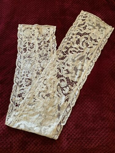Antique French Handmade Table Runner - Needle and Bobbin Lace work 150cm by 25cm
