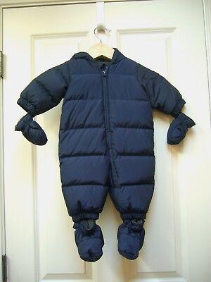 Baby Gap Down Infant Snowsuit Fleece Lined Hood Mittens Booties Navy 0 - 6 M EUC Infant Fleece Mittens