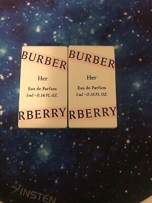 BURBERRY HER Perfume For Women 5ml .16oz EDP Splash MINI TRAVEL New in Box!X2