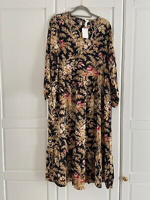 H&M Women's Floral Long Sleeve Midi Crepe Dress SIZE LARGE BRAND NEW
