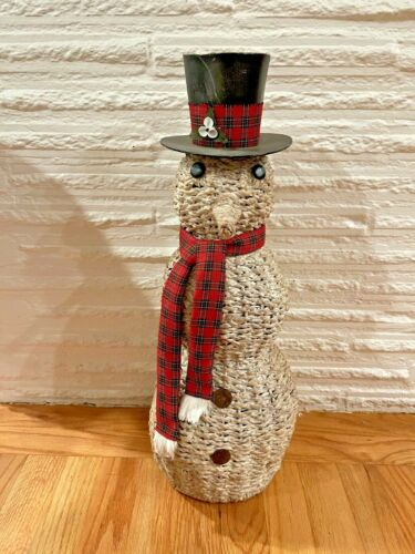 "Vintage Wicker Rattan Snowman Christmas Decoration Large 22"" tall"