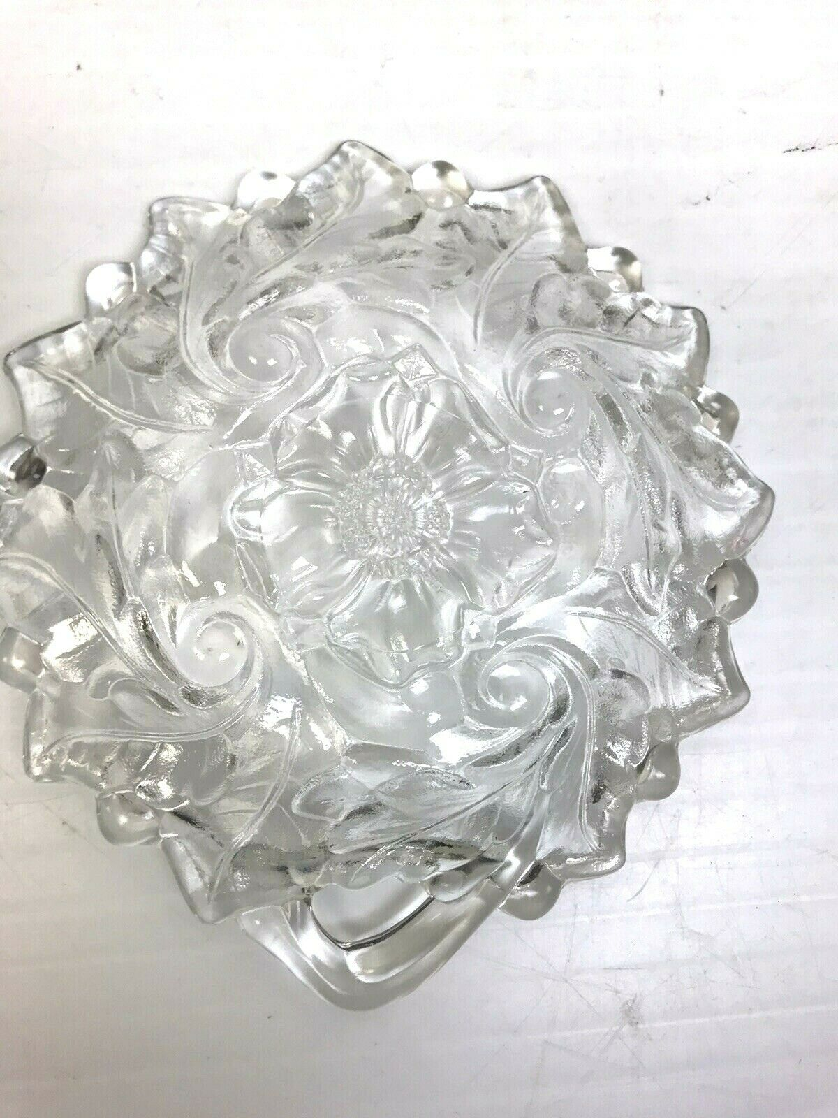 Small Clear Glass Candy Dish Trinket Holder Floral And Leaf Design 6  - $9.42