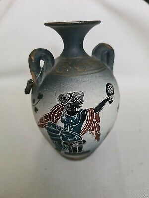 Ancient Greek Hand Painted Museum Copy Handled Jug Vase