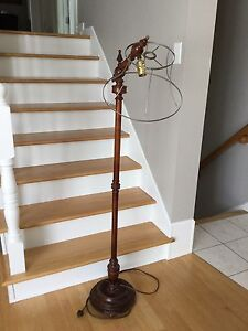 Antique Pole Lamp Wood Floor Lamp
