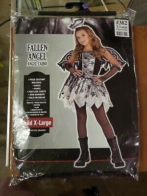 Fallen Angel Costume for Girls, Size Extra-Large, With Dress, Wings, and More