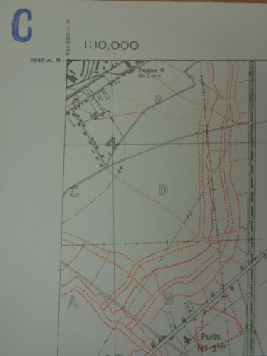 """WW1 (1916) British TRENCH MAP """"HARNES"""" (East of LENS) + Montigny, Sallaumines"""