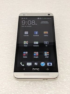 Htc One M7  At T  Silver   Clean Esn   32Gb   Android   Smartphone   Used