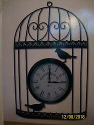 HOME & GARDEN ACCENTS 21 SILHOUETTE BIRDCAGE WITH WALL CLOCK DECOR>RUSTIC LOOK
