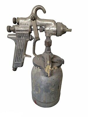 Vintage Binks Model 62 Paint Spray Gun And Pot Untested Needle Moves