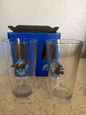 ZENYATTA Pint Glasses from Del Mar Horse Race Track 2 16 OZ Beer or Water Glass