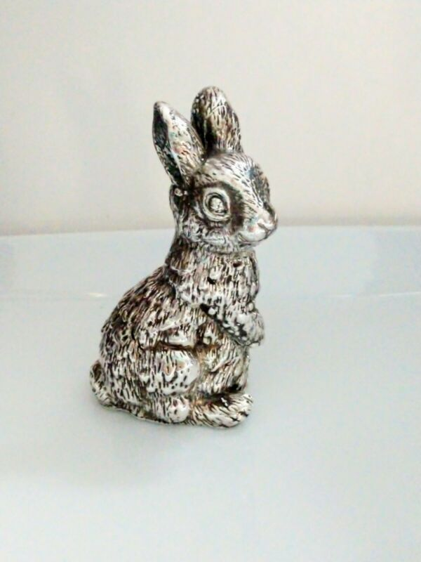 Vintage Bunny Lapin Miniature Figurine Textured Sterling Silver