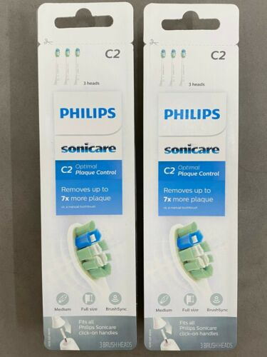 6x Philips Sonicare HX9023/65 C2 Optimal Plaque Control Brush Heads 6 pcs