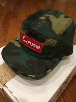 Supreme Camo Wool Camp Cap Green Woodland Box Logo Hat Hats Caps BOGO SOLD OUT