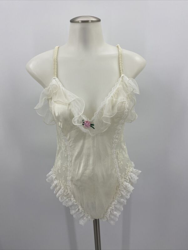 Vintage Nan Flower Lingerie Lace Beaded Teddy White Wedding Large Sexy Bride
