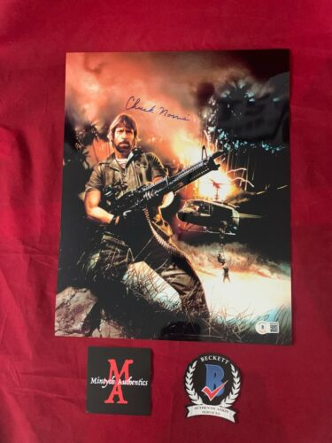 CHUCK NORRIS AUTOGRAPHED SIGNED 11x14 PHOTO! MISSING IN ACTION! BECKETT COA!