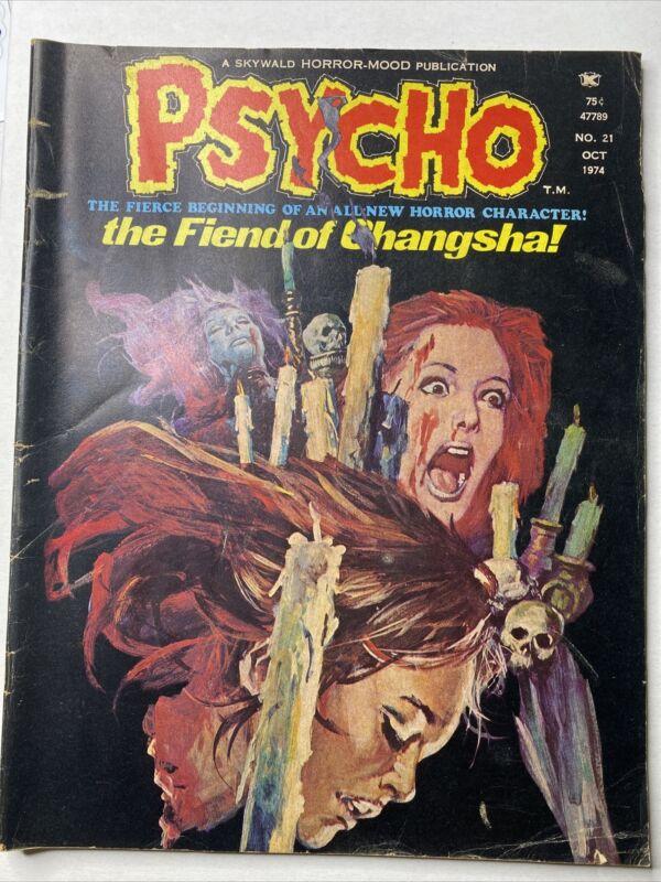Psycho October 1974 No. 21 Magazine Muriana The Fiend of Changsha Skywald Horror