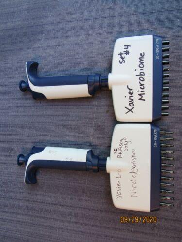 Set of 2 Rainin Pipet Lite XLS Pipette 12 Channel 0.5-10uL and 20-200uL LTS