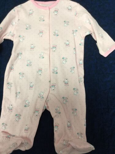 """Newborn baby girl footie """"Little Me""""  dainty pink with bunny"""