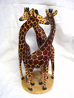 Unique Hand Carved Three Entwined Wooden Giraffe 12  Statue