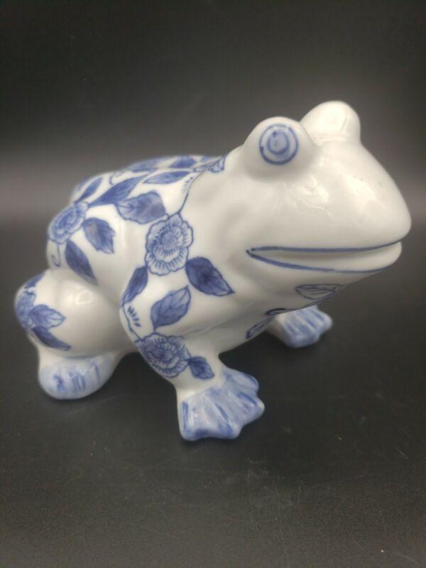 Bella Casa Frog Blue White Ceramic Porcelain  Figurine Floral Flower Toad