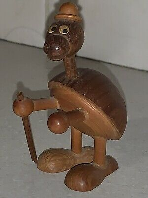 Vintage Espana Spain Patentado Vintage Cute Wooden Turtle Figure Hand Made