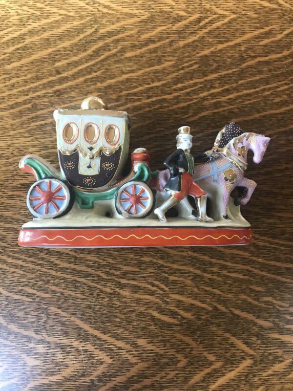 ANTIQUE Moriyama Mori-Machi Porcelin Figurine Hand Painted Japan Horse Carriage