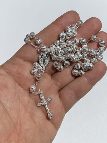Solid 925 Silver Men's Women's Rosary Beads Necklace Rosario 6mm Diamond Cut