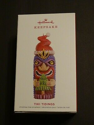 Colorful Santa Hats (Hallmark Ornament 2019 Tiki Tidings Colorful Santa Hat Totem)