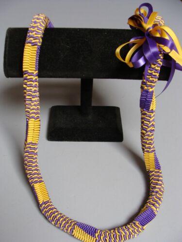 Hawaiian Ribbon Square Weave Graduation Lei purple yellow gold
