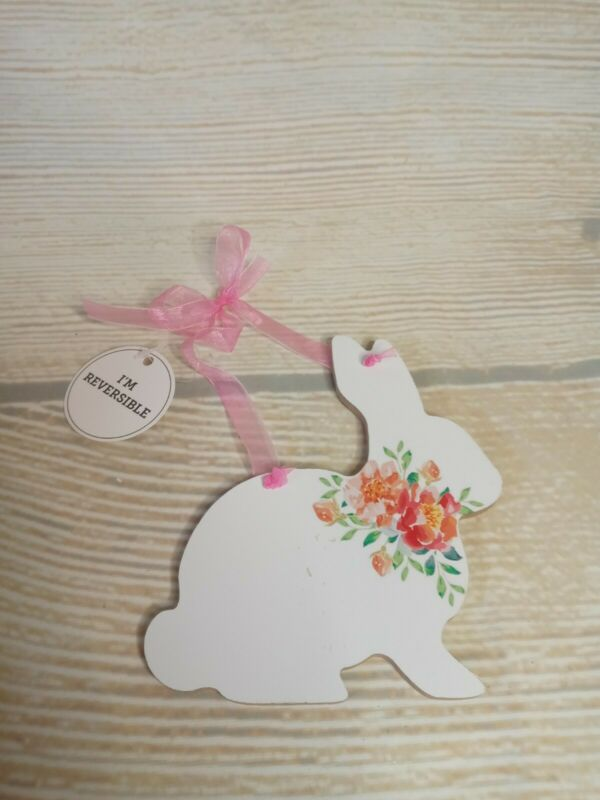 New! Reversible Easter Bunny Wood Sign Tier Crafts White & Coral Floral Ribbon