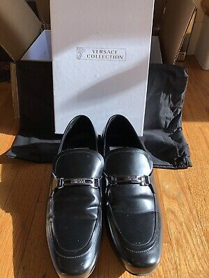 Versace Men's Black Leather Loafers - Size 8 (41)