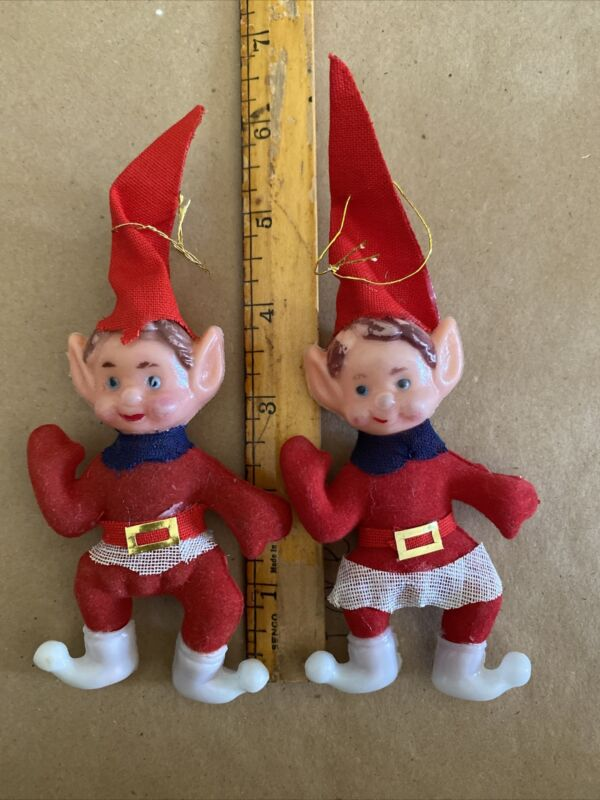 """Vintage Set Of (2) Christmas Elf ornaments~ 4""""T+ With Hats~ So Cute!!"""