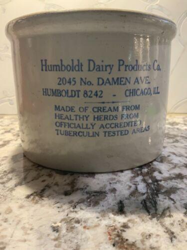"""Vtg Humboldt Dairy Crock 5.5""""h 7.5""""d"""