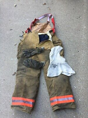 Fire-dex Turn Out Pants With Suspenders 38x32. Nomex Hood Firefighter Gloves.