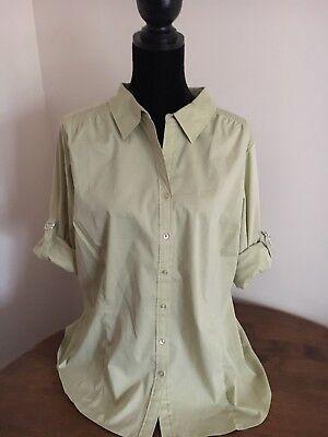 Denim & Co Roll Tab Woven Shirt Button Down Ruching Plus 1X Light Green A213084