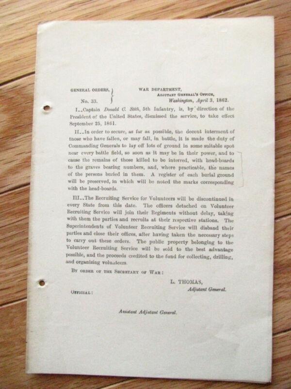 CIVIL WAR GRAVES BURIAL MARKER GENERAL ORDER 1862