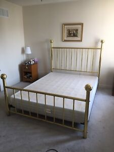 Queen brass bed frame with headboard, footboard and box spring
