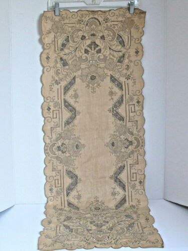 "Antique Hand Made Lace Table Runner 16"" X 42"""